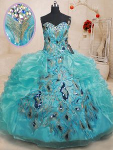 Sleeveless Floor Length Beading and Embroidery and Ruffles Zipper Sweet 16 Quinceanera Dress with Teal
