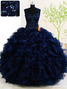 Pretty Straps Organza Sleeveless Floor Length 15th Birthday Dress and Beading and Ruffles