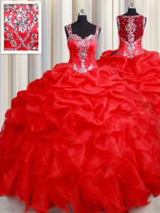 Glorious Straps Sleeveless Organza Sweet 16 Quinceanera Dress Beading and Ruffles Zipper