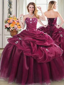 Customized Sweetheart Sleeveless Organza Quinceanera Gown Appliques and Pick Ups Lace Up