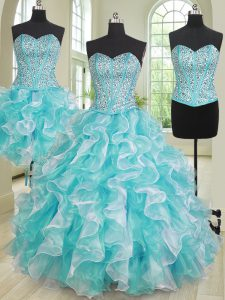 Classical Three Piece Blue And White Ball Gowns Sweetheart Sleeveless Organza Lace Up Beading and Ruffles Quinceanera Dress