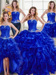 High Class Four Piece Sleeveless Floor Length Beading and Ruffles Lace Up Sweet 16 Dresses with Royal Blue