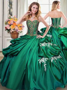 Dark Green Taffeta Lace Up Sweetheart Sleeveless Floor Length Quinceanera Dresses Beading and Appliques and Pick Ups