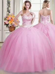 Romantic Tulle Sweetheart Sleeveless Lace Up Beading Quinceanera Dress in Rose Pink