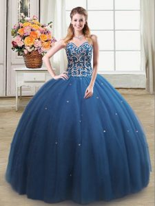 Suitable Teal Sweetheart Neckline Beading Sweet 16 Quinceanera Dress Sleeveless Lace Up