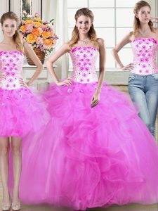 Three Piece Mermaid Fuchsia Strapless Neckline Beading and Appliques and Ruffles Sweet 16 Quinceanera Dress Sleeveless Lace Up
