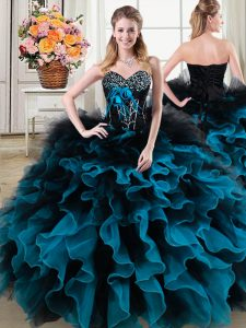 Discount Beading and Ruffles and Hand Made Flower Sweet 16 Dress Black and Blue Lace Up Sleeveless Floor Length
