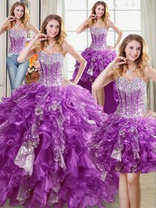 High End Four Piece Purple Sweetheart Lace Up Beading and Ruffles and Sequins 15 Quinceanera Dress Sleeveless