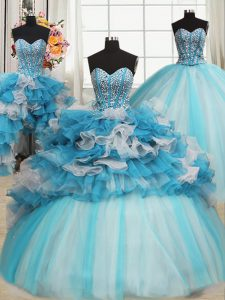 Organza and Tulle Sweetheart Sleeveless Lace Up Beading and Ruffles Ball Gown Prom Dress in Blue And White
