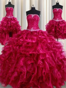 Elegant Four Piece Floor Length Lace Up Quinceanera Dresses Burgundy for Military Ball and Sweet 16 and Quinceanera with Beading and Ruffles