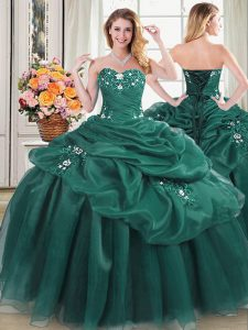 Luxury Floor Length Lace Up Sweet 16 Quinceanera Dress Dark Green for Military Ball and Sweet 16 and Quinceanera with Beading and Appliques and Pick Ups