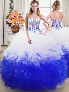 Hot Selling Organza Sweetheart Sleeveless Lace Up Beading and Ruffles Sweet 16 Dresses in Blue And White