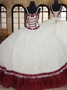 Glamorous Straps White And Red Ball Gowns Beading Quince Ball Gowns Lace Up Organza Sleeveless Floor Length