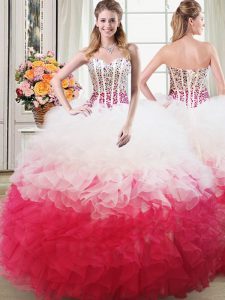 Charming Organza Sweetheart Sleeveless Lace Up Beading and Ruffles Quinceanera Gowns in Pink And White