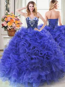 Nice Royal Blue Ball Gowns Sweetheart Sleeveless Organza Floor Length Lace Up Beading and Ruffles Quinceanera Gowns