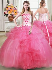 Unique Tulle Sleeveless Floor Length 15th Birthday Dress and Beading and Appliques and Ruffles
