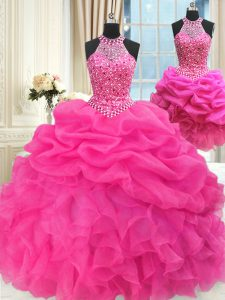 Three Piece Halter Top Sleeveless Organza Ball Gown Prom Dress Beading and Ruffles and Pick Ups Lace Up