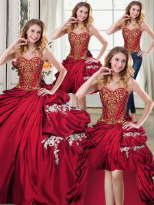 Colorful Four Piece Wine Red Lace Up Quinceanera Gowns Beading and Appliques and Pick Ups Sleeveless Floor Length