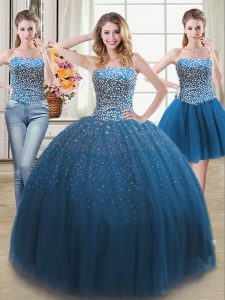 Low Price Three Piece Teal Sleeveless Beading Lace Up Sweet 16 Quinceanera Dress