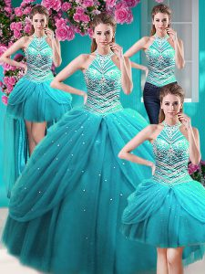 Four Piece Halter Top Pick Ups Floor Length Ball Gowns Sleeveless Aqua Blue Quinceanera Gowns Lace Up
