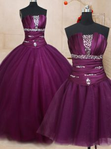 Three Piece Dark Purple Ball Gowns Beading 15th Birthday Dress Lace Up Tulle Sleeveless Floor Length