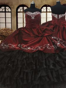 Red And Black Sweetheart Lace Up Beading and Embroidery and Ruffled Layers Quinceanera Dress Sleeveless