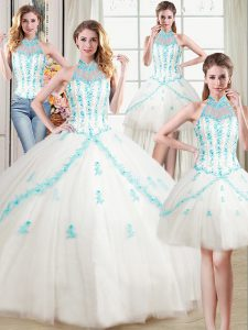 Fashion Four Piece Halter Top White Lace Up Ball Gown Prom Dress Beading and Appliques Sleeveless Floor Length