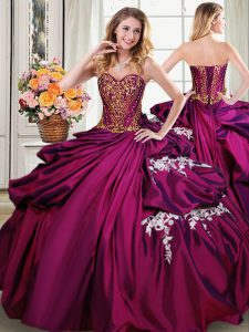 Admirable Sleeveless Floor Length Beading and Appliques and Pick Ups Lace Up Sweet 16 Quinceanera Dress with Burgundy