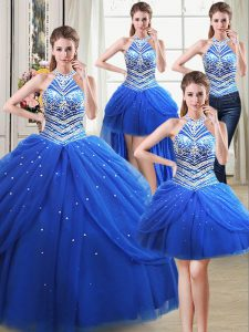 Four Piece Halter Top Royal Blue Lace Up Quinceanera Dress Beading and Pick Ups Sleeveless Floor Length