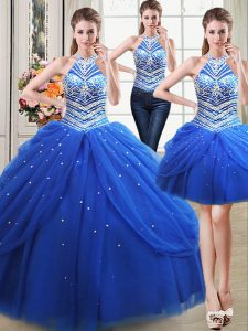 Three Piece Halter Top Royal Blue Lace Up 15th Birthday Dress Beading and Pick Ups Sleeveless Floor Length