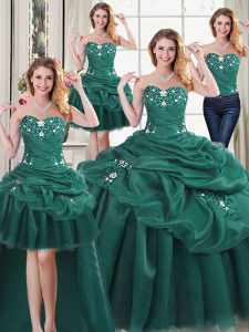 Glorious Four Piece Dark Green Lace Up Sweet 16 Dresses Beading and Ruffles and Pick Ups Sleeveless Floor Length