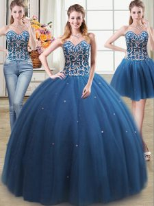 Ideal Three Piece Teal Sweetheart Lace Up Beading Quince Ball Gowns Sleeveless