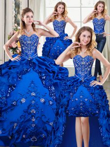 Sweet Four Piece Royal Blue Sweetheart Neckline Beading and Embroidery and Pick Ups Quinceanera Gown Sleeveless Lace Up