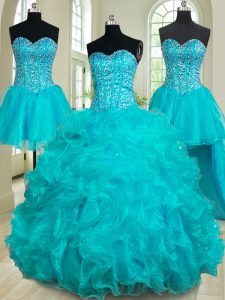 Eye-catching Four Piece Teal Sleeveless Organza Lace Up Quince Ball Gowns for Military Ball and Sweet 16 and Quinceanera