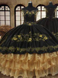 Cheap Black Off The Shoulder Neckline Beading and Embroidery and Ruffled Layers Quinceanera Dress Sleeveless Lace Up