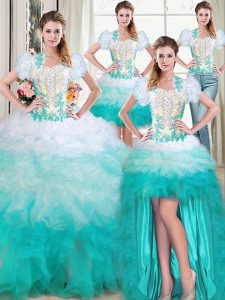 Four Piece Sleeveless Floor Length Beading and Appliques and Ruffles Lace Up Sweet 16 Dress with Multi-color