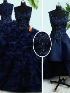Four Piece Straps Floor Length Zipper Quinceanera Gowns Navy Blue for Military Ball and Sweet 16 and Quinceanera with Beading and Ruffles