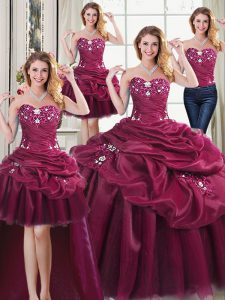 Noble Four Piece Burgundy Sweetheart Lace Up Beading and Appliques and Pick Ups 15 Quinceanera Dress Sleeveless
