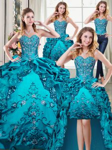 Decent Four Piece Teal Sweetheart Neckline Beading and Embroidery and Pick Ups 15th Birthday Dress Sleeveless Lace Up