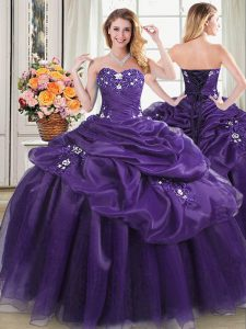 Noble Floor Length Lace Up Quinceanera Gowns Purple for Military Ball and Sweet 16 and Quinceanera with Appliques and Pick Ups