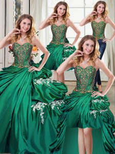 Modest Four Piece Beading and Appliques and Pick Ups Ball Gown Prom Dress Dark Green Lace Up Sleeveless Floor Length