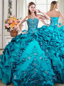 Customized Sleeveless Beading and Embroidery and Pick Ups Lace Up Sweet 16 Quinceanera Dress