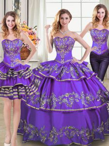 Glamorous Three Piece Sweetheart Sleeveless Quinceanera Gowns Floor Length Embroidery and Ruffled Layers Eggplant Purple Taffeta