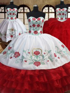 Three Piece Floor Length White and Red Sweet 16 Dress Organza Sleeveless Embroidery and Ruffled Layers