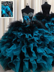 Fine Sleeveless Beading and Ruffles and Hand Made Flower Lace Up Ball Gown Prom Dress