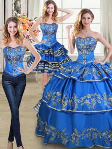 Three Piece Ruffled Blue Sleeveless Taffeta Lace Up Vestidos de Quinceanera for Military Ball and Sweet 16 and Quinceanera