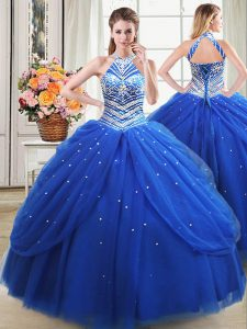 Royal Blue Tulle Lace Up Halter Top Sleeveless Floor Length Sweet 16 Quinceanera Dress Beading and Pick Ups