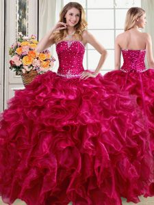 Strapless Sleeveless Organza Quinceanera Gowns Beading and Ruffles Lace Up