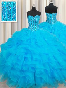 Suitable Baby Blue Sleeveless Floor Length Beading and Ruffles Lace Up Quinceanera Gowns
