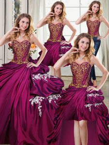 Four Piece Sleeveless Lace Up Floor Length Beading and Appliques and Pick Ups Sweet 16 Dress